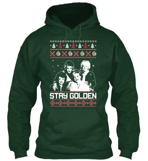 ugly christmas sweater golden girls forest green sweatshirt front
