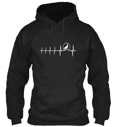 Wolf Lover Gifts Wolf Heartbeat Black T-Shirt Front