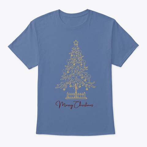 Merry Christmas  Holiday Tree  Denim Blue T-Shirt Front