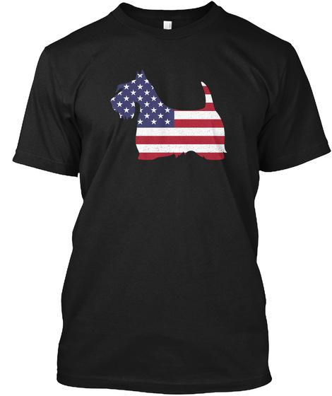 Patriotic Scotties Usa Flag Black T-Shirt Front