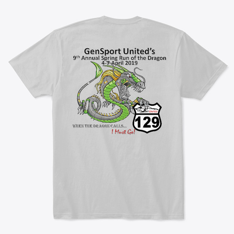 Gsu 2019 Spring Dragon T Shirt V2.0 Light Heather Grey  T-Shirt Back