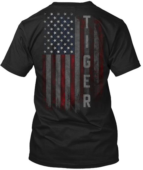 Tiger Family American Flag Black T-Shirt Back