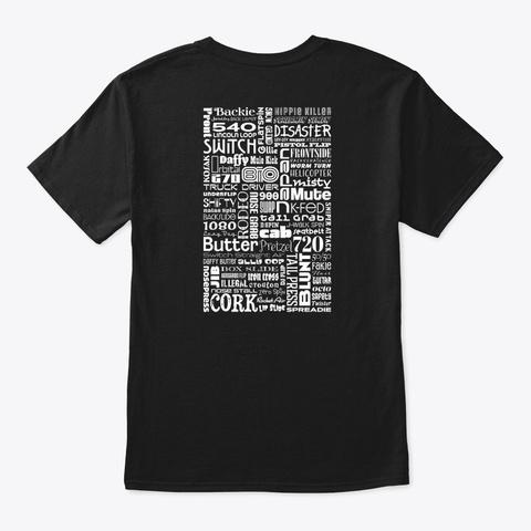 Ski Tricks Word Art (Reverse) Black T-Shirt Back