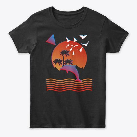 Retro Vaporwave Style Souvenir Dolphin Black T-Shirt Front