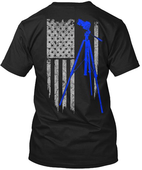 Photography   Usa Flag Black T-Shirt Back