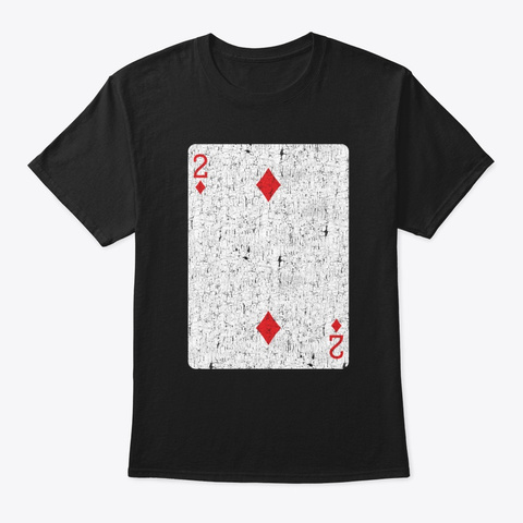 Two Of Diamonds Playing Card Black T-Shirt Front