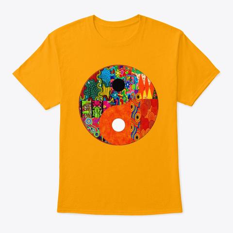 Orange Yin And Yang Gold T-Shirt Front