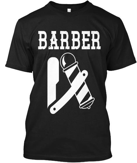 Barber Black T-Shirt Front