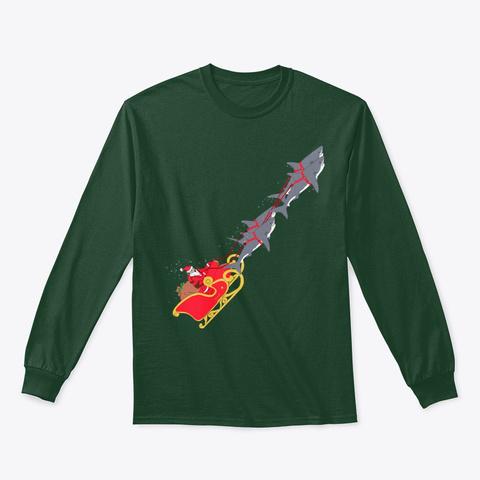 Christmas Santa Shark Diver Xmas Gifts Forest Green T-Shirt Front