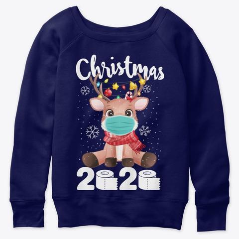 Family Reindeer Christmas 2020 Pajamas Navy  T-Shirt Front