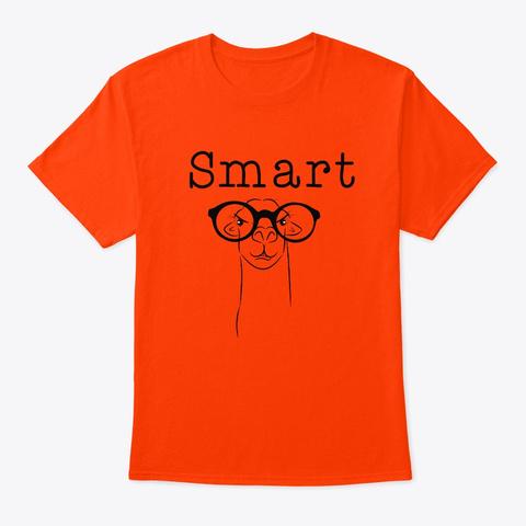 Funny Sarcastic  Smart Llama T Shirt Orange T-Shirt Front
