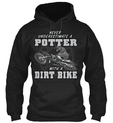 Potter With A Dirt Bike Black T-Shirt Front
