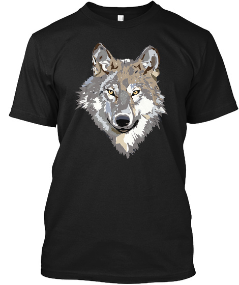 Funny Wolf  Black T-Shirt Front