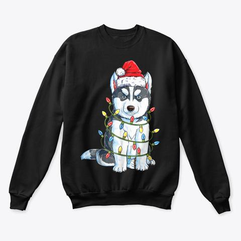 Siberian Husky Christmas T Shirt Black T-Shirt Front