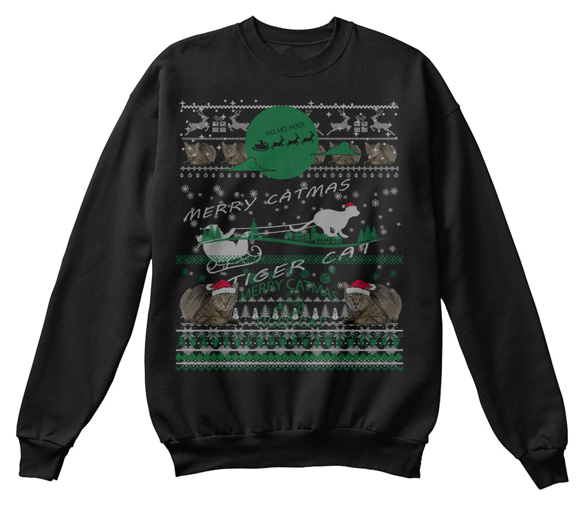 Fun Tiger Cat Sweat-Shirt Christmas Ugly Sweater S Sweat-Shirt Cat Sweat-Shirt Confortable 789824