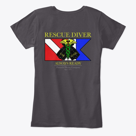 Pdc Rescue Shirt Woman's 2 Heathered Charcoal  T-Shirt Back