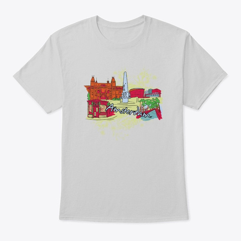 Amsterdam   Awesome Amsterdam Lover Gift Light Steel T-Shirt Front