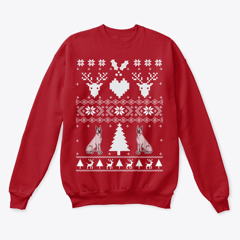 Great Dane Ugly Christmas Sweater Deep Red  T-Shirt Front