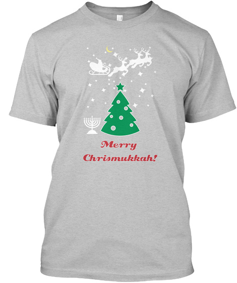 Merry Chrismukkah! Light Heather Grey  T-Shirt Front