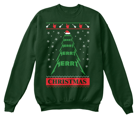 metal fan ugly christmas sweater style from heavy metal store merry merry merry merry merry christmas deep forest sweatshirt front - Heavy Metal Ugly Christmas Sweaters
