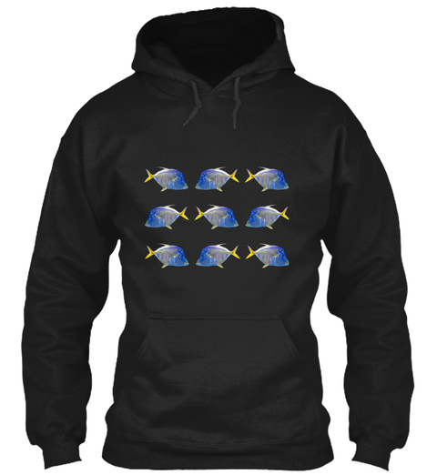 Tropical Fish Pop Art Black T-Shirt Front