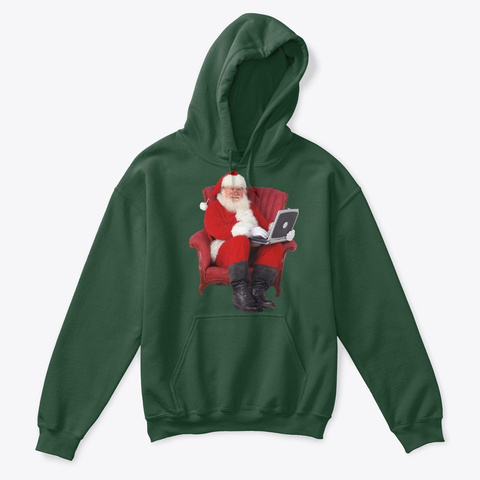 Santa Claus Forest Green T-Shirt Front