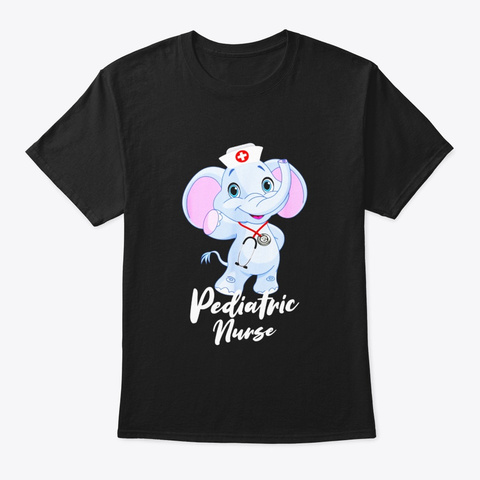 Pediatric Nurse Elephant T Shirt For Black T-Shirt Front