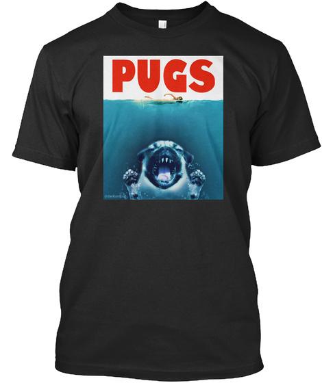 Pugs Black T-Shirt Front