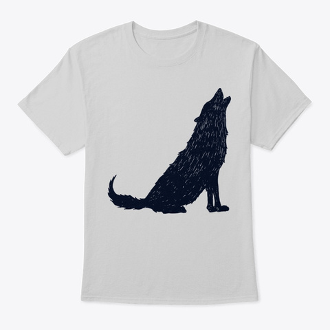Scary Wolf Howling  Light Steel T-Shirt Front
