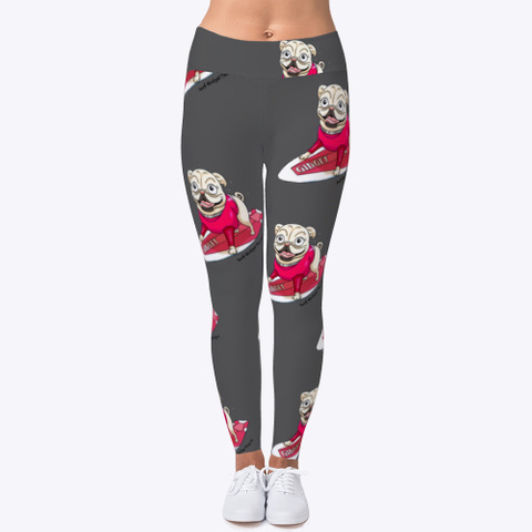 Surf Gidget The Pug Leggings Charcoal T-Shirt Front