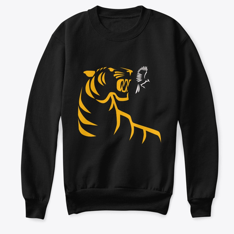 Tiger Catching Bird T Shirts And Sweaters Black T-Shirt Front