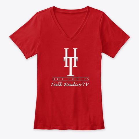 Hot Topics Talk Radio/Ladies V Neck T Red T-Shirt Front