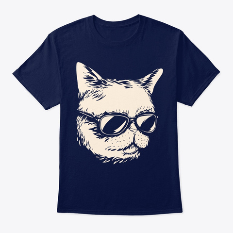 Adorable Cat With Sunglasses Cattitude Navy T-Shirt Front