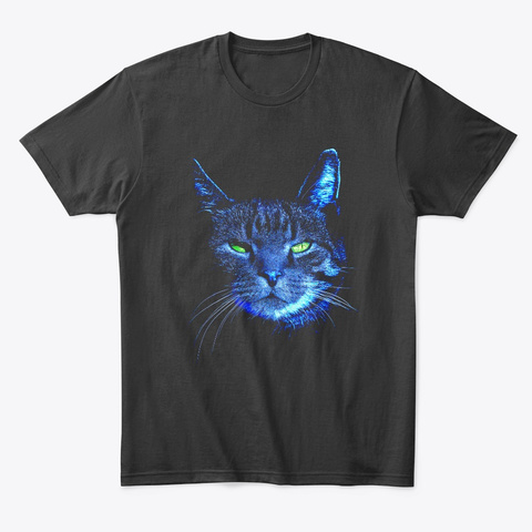 Cat In The Moonlight Black T-Shirt Front