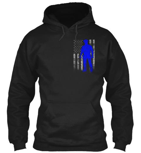 Police Officer Thin Blue Line Flag (Amz) Black T-Shirt Front