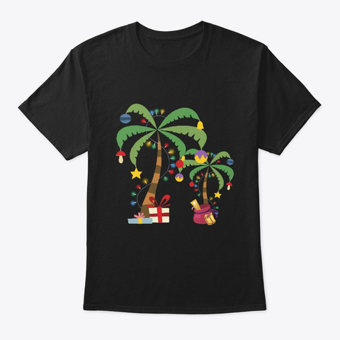 Decorated Christmas Coconut Palm Tree Tr Black T-Shirt Front