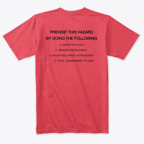 Warning Vintage Red T-Shirt Back