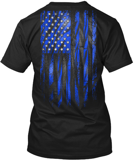 Blue Tiger American Flag Black T-Shirt Back