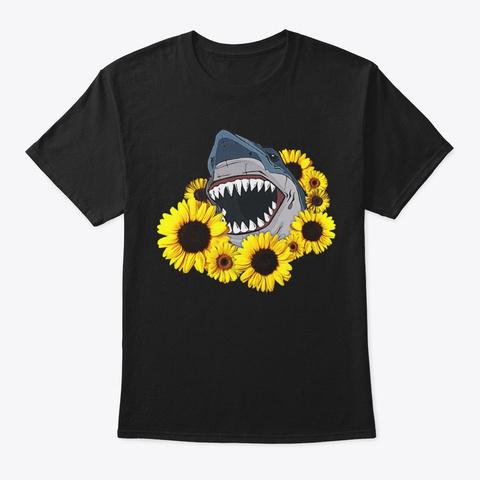 Comic Sunflower Shark Lover Gift Black T-Shirt Front