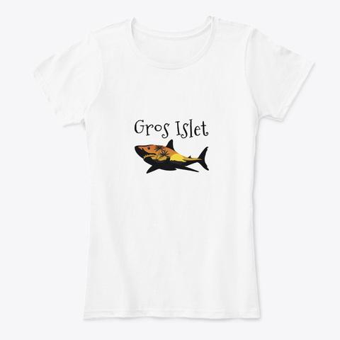 Gros Islet St. Lucia Shark White T-Shirt Front
