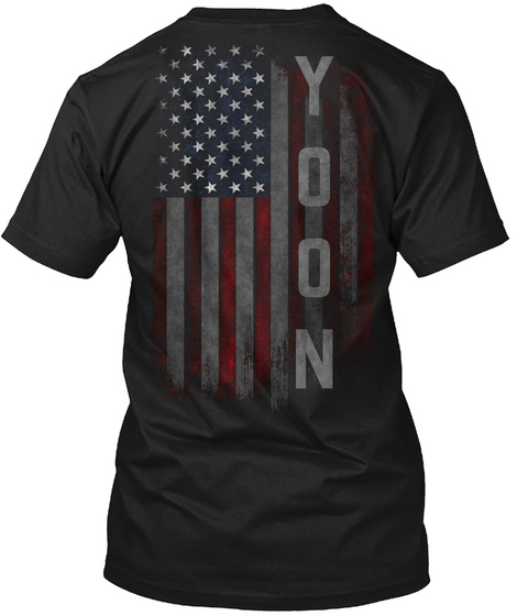 Yoon Family American Flag Black T-Shirt Back