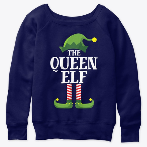 Queen Elf Matching Family Group Christma Navy  T-Shirt Front