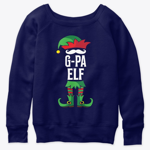 G Pa Elf Costume Family Christmas Navy  T-Shirt Front