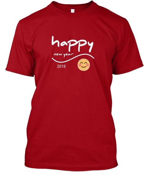 Happy New Year Day Deep Red T-Shirt Front