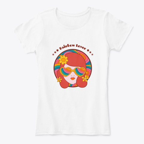 Rainbow Lover   Retro Style White T-Shirt Front
