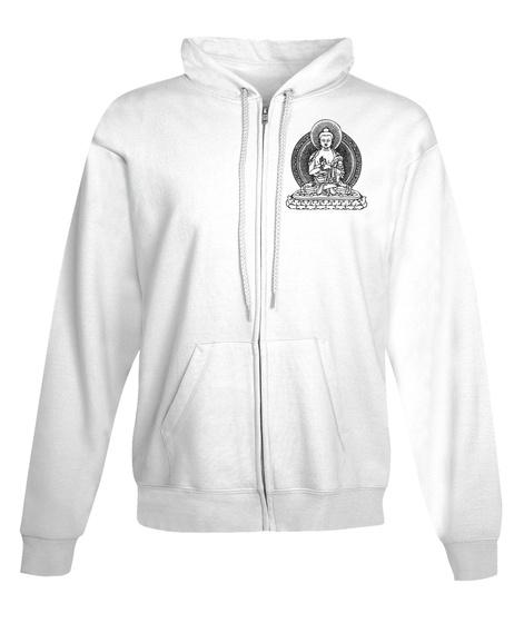 Buddha Zip Hoodie White T-Shirt Front