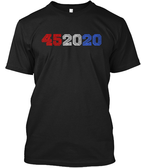 452020 Red White Blue Tshirt Black T-Shirt Front