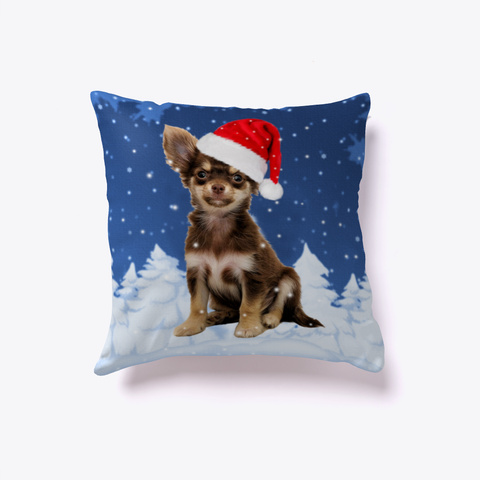 Chihuahua Christmas Holidays Snow Pillow White T-Shirt Back