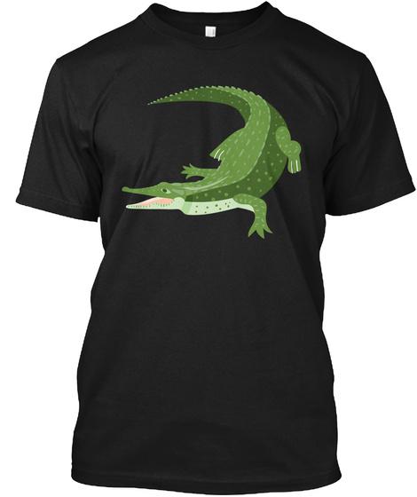 Crocodile Funny Art Shirts Black T-Shirt Front