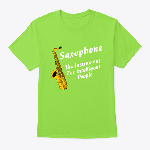 Intelligent Saxophone White Text Lime T-Shirt Front